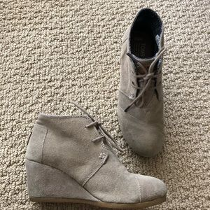 Toms Desert Wedge Bootie in Taupe Suede
